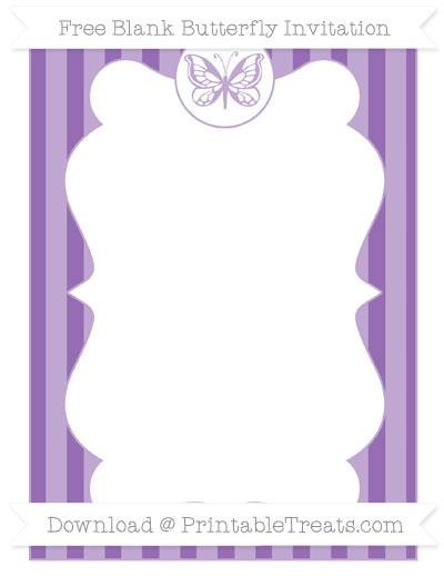 Free Pastel Plum Striped Blank Butterfly Invitation