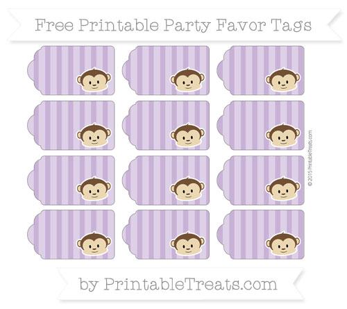 Free Pastel Plum Striped Boy Monkey Party Favor Tags