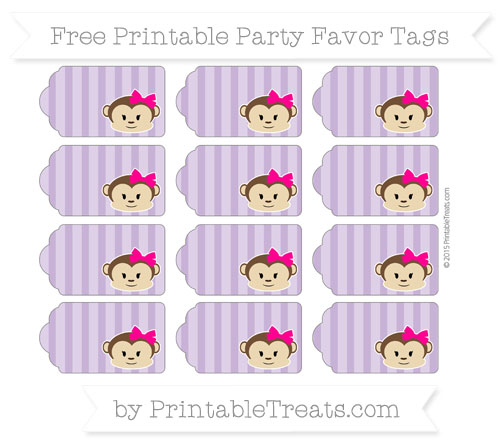 Free Pastel Plum Striped Girl Monkey Party Favor Tags