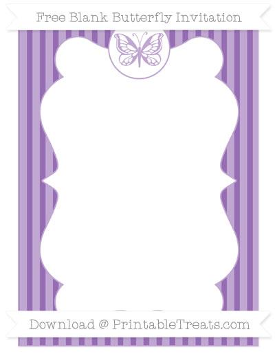 Free Pastel Plum Thin Striped Pattern Blank Butterfly Invitation