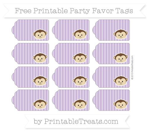 Free Pastel Plum Thin Striped Pattern Boy Monkey Party Favor Tags