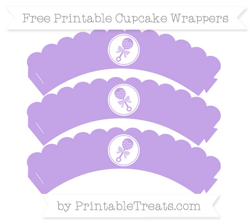 Free Pastel Purple Baby Rattle Scalloped Cupcake Wrappers