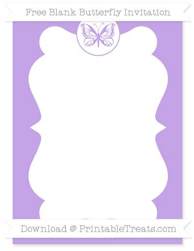 Free Pastel Purple Blank Butterfly Invitation