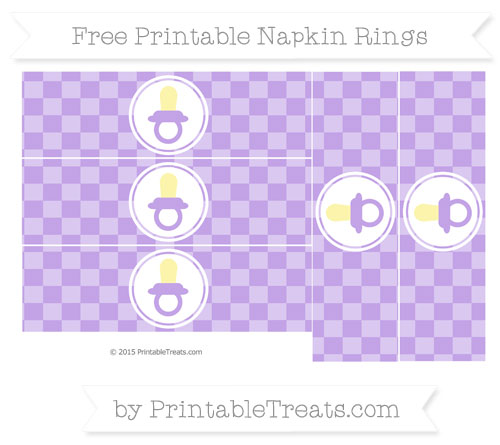 Free Pastel Purple Checker Pattern Baby Pacifier Napkin Rings