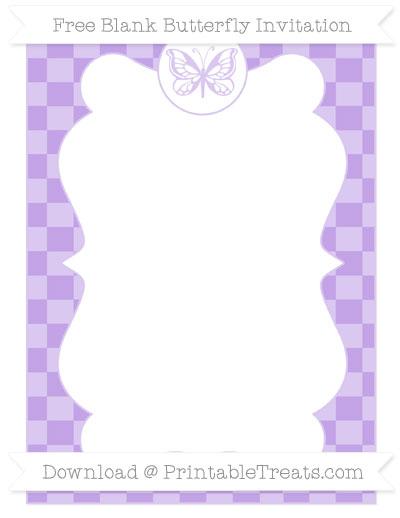 Free Pastel Purple Checker Pattern Blank Butterfly Invitation