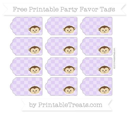 Free Pastel Purple Checker Pattern Boy Monkey Party Favor Tags