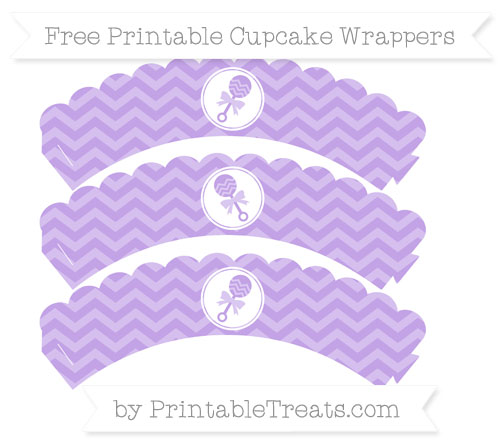 Free Pastel Purple Chevron Baby Rattle Scalloped Cupcake Wrappers