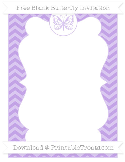 Free Pastel Purple Chevron Blank Butterfly Invitation