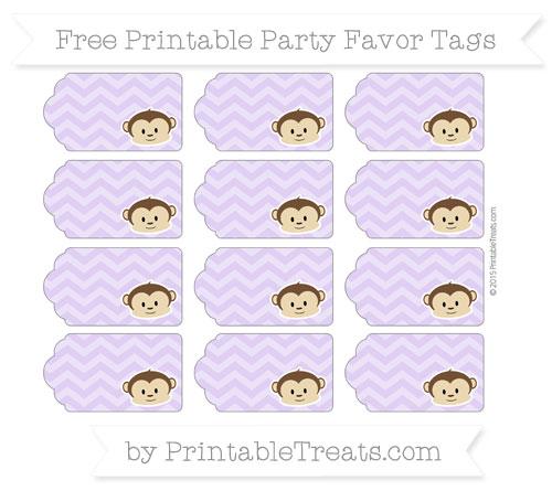 Free Pastel Purple Chevron Boy Monkey Party Favor Tags