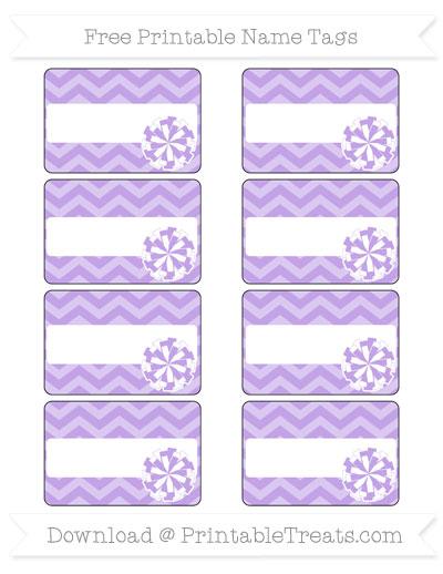 Free Pastel Purple Chevron Cheer Pom Pom Tags