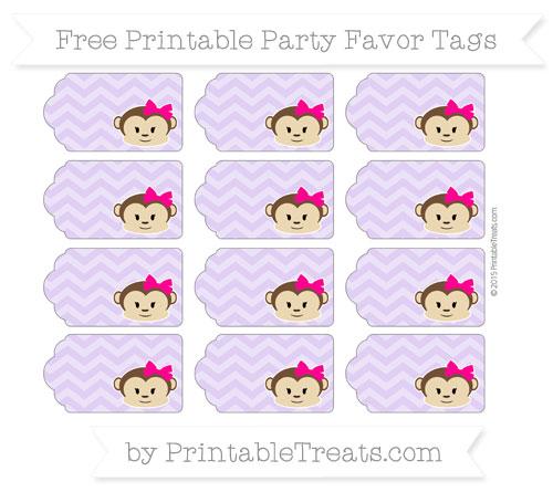 Free Pastel Purple Chevron Girl Monkey Party Favor Tags