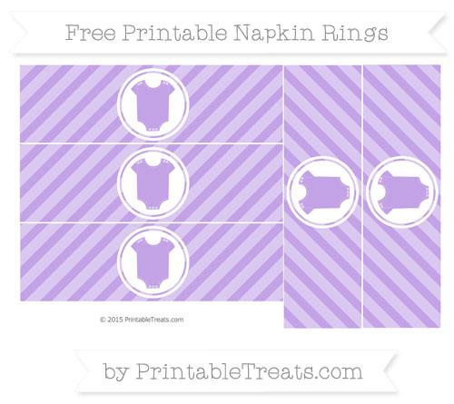 Free Pastel Purple Diagonal Striped Baby Onesie Napkin Rings