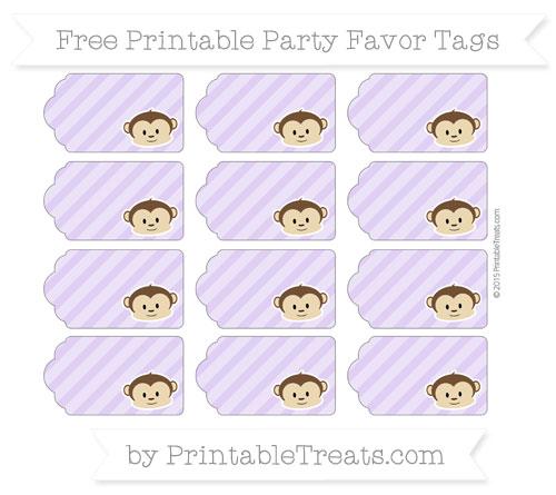 Free Pastel Purple Diagonal Striped Boy Monkey Party Favor Tags