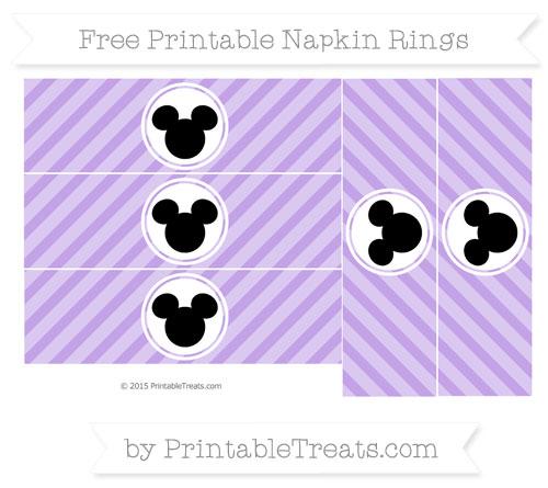 Free Pastel Purple Diagonal Striped Mickey Mouse Napkin Rings