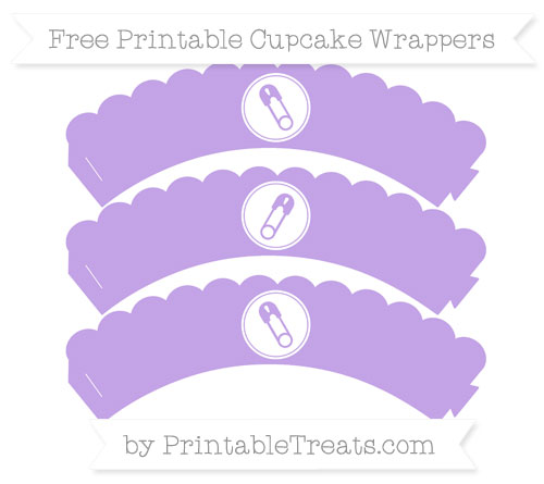 Free Pastel Purple Diaper Pin Scalloped Cupcake Wrappers