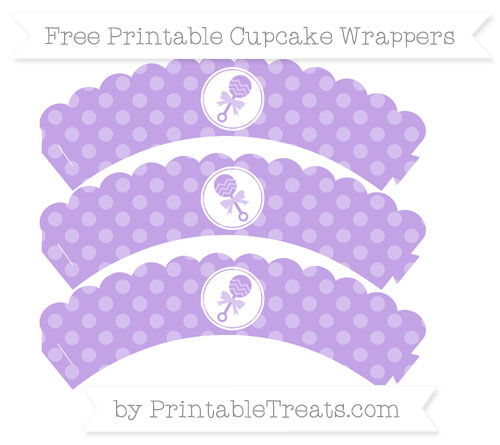 Free Pastel Purple Dotted Pattern Baby Rattle Scalloped Cupcake Wrappers
