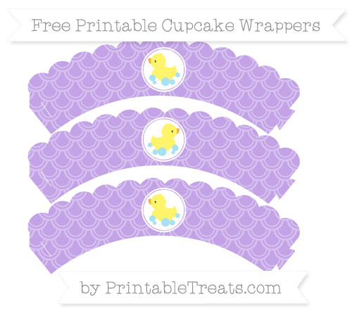 Free Pastel Purple Fish Scale Pattern Baby Duck Scalloped Cupcake Wrappers