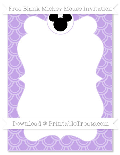 Free Pastel Purple Fish Scale Pattern Blank Mickey Mouse Invitation