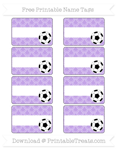 Free Pastel Purple Fish Scale Pattern Soccer Name Tags