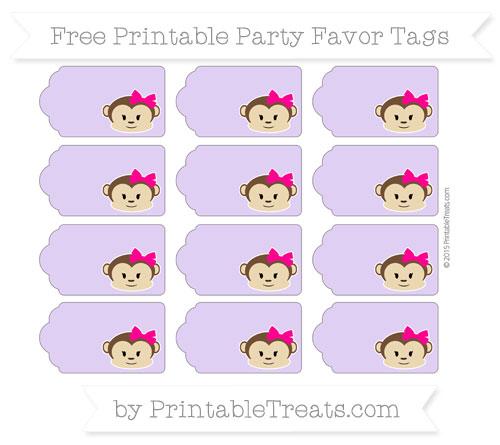 Free Pastel Purple Girl Monkey Party Favor Tags