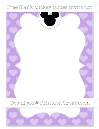 Free Pastel Purple Heart Pattern Blank Mickey Mouse Invitation
