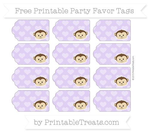 Free Pastel Purple Heart Pattern Boy Monkey Party Favor Tags