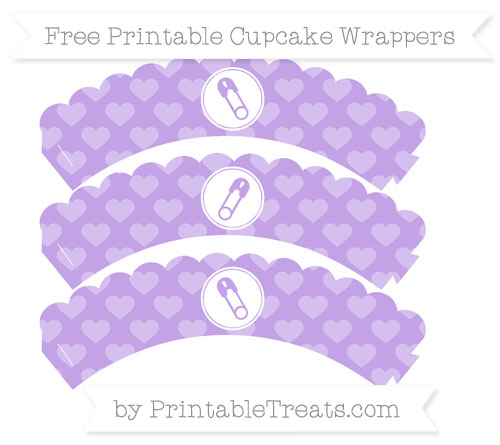 Free Pastel Purple Heart Pattern Diaper Pin Scalloped Cupcake Wrappers