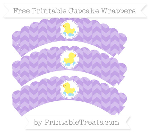 Free Pastel Purple Herringbone Pattern Baby Duck Scalloped Cupcake Wrappers
