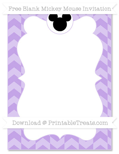 Free Pastel Purple Herringbone Pattern Blank Mickey Mouse Invitation
