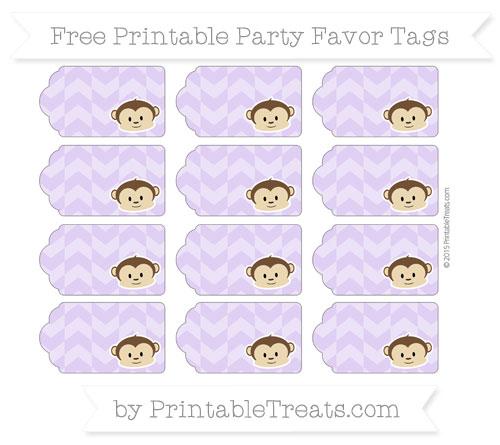 Free Pastel Purple Herringbone Pattern Boy Monkey Party Favor Tags