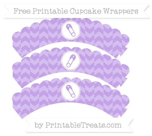 Free Pastel Purple Herringbone Pattern Diaper Pin Scalloped Cupcake Wrappers