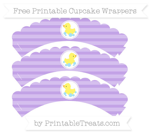 Free Pastel Purple Horizontal Striped Baby Duck Scalloped Cupcake Wrappers