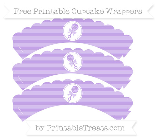 Free Pastel Purple Horizontal Striped Baby Rattle Scalloped Cupcake Wrappers