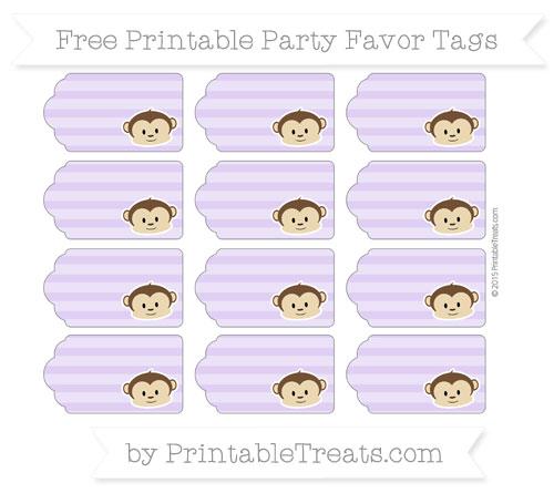 Free Pastel Purple Horizontal Striped Boy Monkey Party Favor Tags