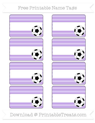 Free Pastel Purple Horizontal Striped Soccer Name Tags