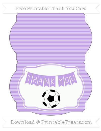 Free Pastel Purple Horizontal Striped Soccer Thank You Card