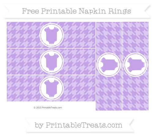 Free Pastel Purple Houndstooth Pattern Baby Onesie Napkin Rings