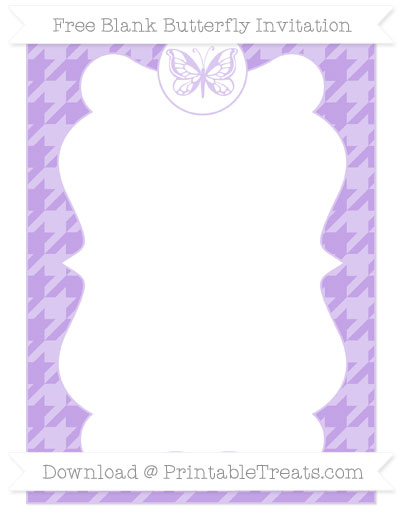 Free Pastel Purple Houndstooth Pattern Blank Butterfly Invitation