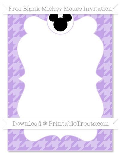 Free Pastel Purple Houndstooth Pattern Blank Mickey Mouse Invitation