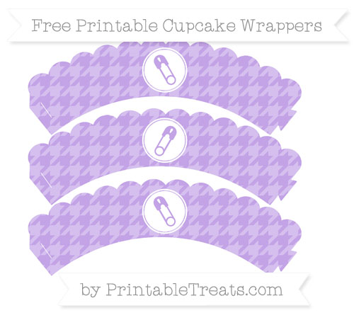 Free Pastel Purple Houndstooth Pattern Diaper Pin Scalloped Cupcake Wrappers