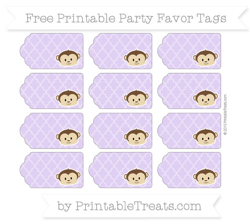 Free Pastel Purple Moroccan Tile Boy Monkey Party Favor Tags