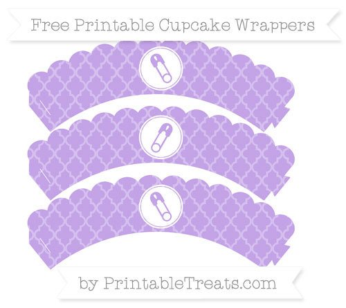 Free Pastel Purple Moroccan Tile Diaper Pin Scalloped Cupcake Wrappers
