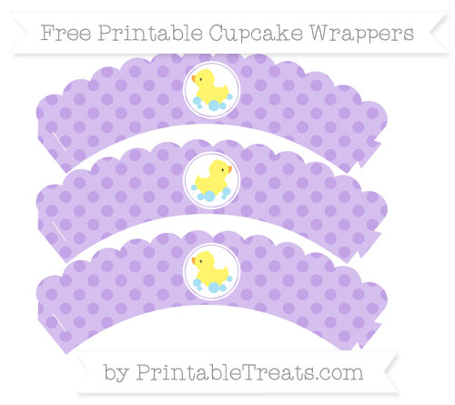 Free Pastel Purple Polka Dot Baby Duck Scalloped Cupcake Wrappers