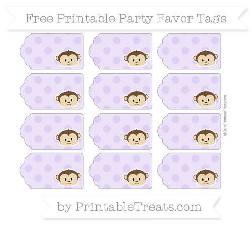 Free Pastel Purple Polka Dot Boy Monkey Party Favor Tags