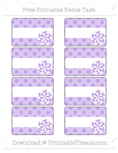 Free Pastel Purple Polka Dot Cheer Pom Pom Tags