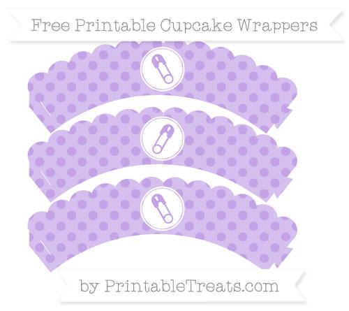 Free Pastel Purple Polka Dot Diaper Pin Scalloped Cupcake Wrappers