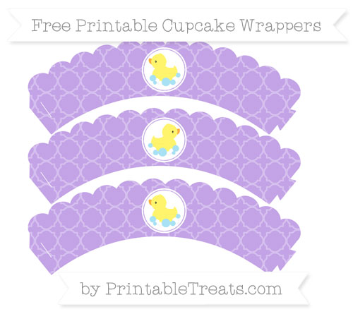 Free Pastel Purple Quatrefoil Pattern Baby Duck Scalloped Cupcake Wrappers