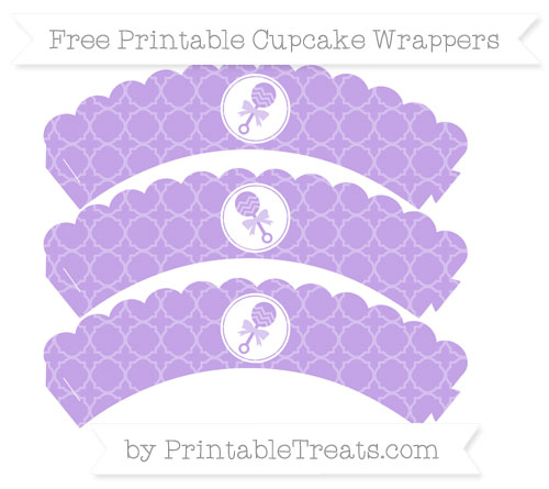 Free Pastel Purple Quatrefoil Pattern Baby Rattle Scalloped Cupcake Wrappers