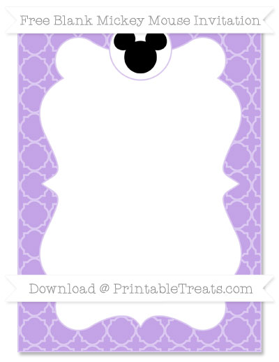 Free Pastel Purple Quatrefoil Pattern Blank Mickey Mouse Invitation