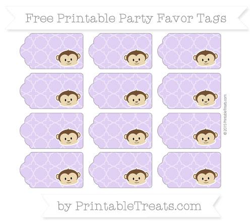 Free Pastel Purple Quatrefoil Pattern Boy Monkey Party Favor Tags